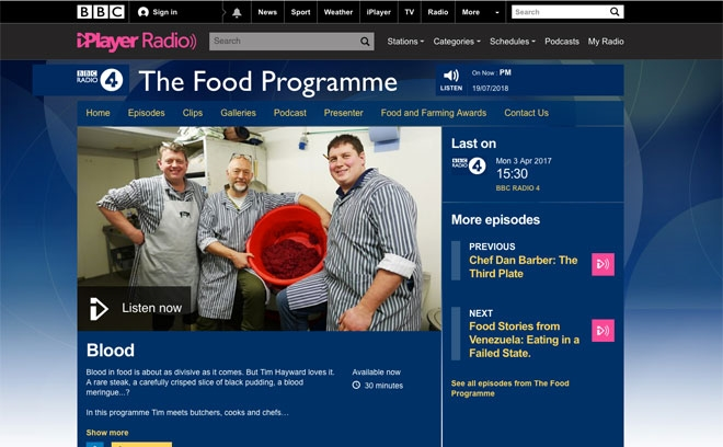BBC R4 - The Food Programme - Blood